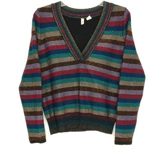 Moth Anthro Small Colorful Striped V Neck Sweater